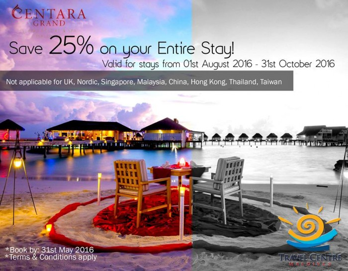 Save 25% on your entire stay at Centara Grand Island Resort!